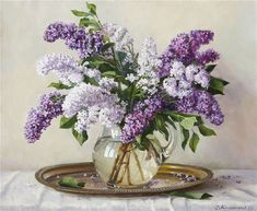Lilac Painting, Watercolor Landscape Paintings, Floral Paintings, Flower Art, Art Flowers, Still Life, Glass Vase, Lavender, Artist