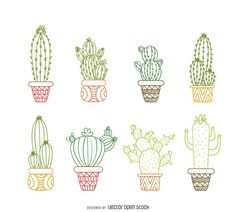 Cactus outline drawing set featuring multiple types of hand drawn cacti with pots in bright colors. Perfect for tshirts, kids books, wallpapers, wall art, backd