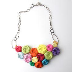 Brydferth Rosette Couture Statement Necklace, Bib Necklace, Silks, Cotton, Sterling Silver, Rainbow Colors, $140.00, etsy