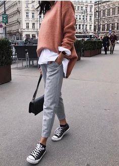 Suit trousers, converse