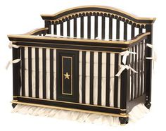 AFK's Dauphin Crib, shown in Black with Gold Gilding Finish with applique moulding.  Our elaborate Dauphin Crib can convert to a Toddler Bed, Day Bed and Full Size Bed.  (Purchase of Conversion Rails is required.) Choose from any of our AFK finishes.  #crib #nursery #afk