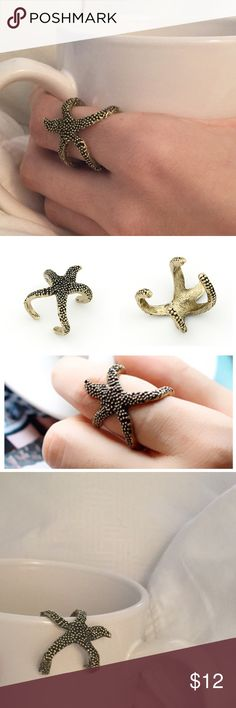 Bronze Adjustable Starfish Ring Beautiful alloy metal starfish ring that is adjustable by squeezing. Molds around your finger, and you have a starfish hugging you all day! Largest size is 8.5, which is what this ring is. Bronze color. Boutique Jewelry Rings