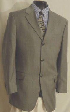 Albert Nipon Mens 3 Button Fully Lined Gray Wool Suit Size 40L  #AlbertNipon #ThreeButton