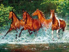 Cuadros Modernos: Horses, Caballos Finos Pintados Con Óleo, Bonnie ...