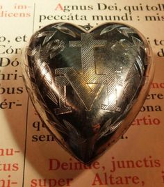 Old Sterling Silver Heart Ex Voto ... Engraved Monogram Virgin Mary