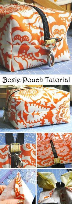 Boxie Pouch Tutorial. Step-by-step sew instructions http://www.free-tutorial.net/2017/09/boxie-pouch-tutorial.html
