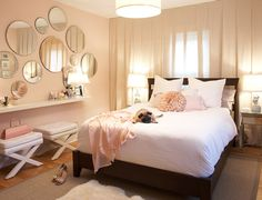 Love this warm pink wall color--Martha Stewart's Ballet Slipper. It's not too sweet, and looks lovely with the neutrals in the room.
