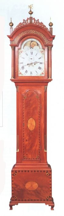 Hepplewhite mahogany inlaid tall case clock.  Luther Metcalf's shop. Possibly made by Ichabod Sanford Medway Massachusetts, 1796.  It's a shame most early American furniture work was never signed.