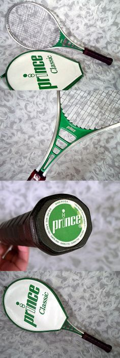 Sold Vintage 1980's PRINCE CLASSIC ALUMINUM Tennis Racket w Original Cover Green