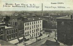https://flic.kr/p/tDBW54 | Michigan and Washington-bird's eye view n.e. from Oakland Building-guess 1910's-Kurt Wanamaker's postcard-Lansing, MI