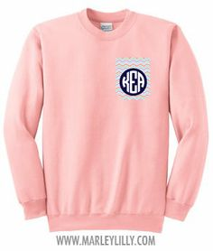 sierrraalexis's save of Monogrammed Pocket Crewneck Sweatshirt | Marley Lilly on Wanelo