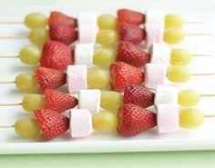 fruit and marshmallow skewers great children's birthday party food