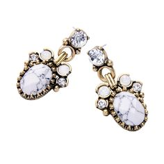 Papa East Online Jewelry Fashion Store: Oval Gemstone Earrings