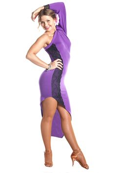 """Purple Diamonds"" Latin Ballroom Dance Dress"
