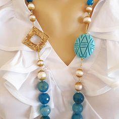Piedra preciosa ágata azul, largo collar de