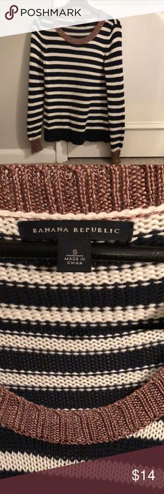 """Open Knit Banana Republic Stripe Sweater Beautiful Banana Republic Open Knit Crewneck Sweater. Navy and white stripe with metallic bronze detail at neck and bottom of sleeves. 100% cotton. Small pulls on bottom of sleeve are pictured. 17"""" pit to pit Banana Republic Sweaters Crew & Scoop Necks"""