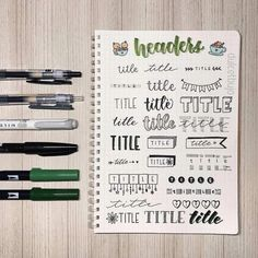 Awesome Bullet Journal header and title ideas, lettering styles, and banners. Tons of inspirations to decorate your Bullet Journal pages. #mashaplans #bulletjournal #bujo #headers #banners #titleideas Bullet Journal Headers, Journal Fonts, Bullet Journal Notebook, Bullet Journal Inspiration, Journal Pages, Journal Ideas, Journals, Notes Taking, Self Care Bullet Journal