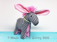 Little Mule Donkey Baby Plush Toy Grey & Pink with Dots by RBQuery
