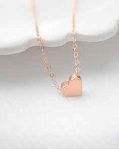 This little #RoseGold heart necklace is so cute and dainty piece that layers well with anything!  from $26 CLICK HERE to buy https://www.oliveyew.com/product/sale-40-off-rose-gold-heart-necklace-rose-gold-necklace-with-rose-gold-heart/ #OliveYewJewelry #RoseGoldJewelry