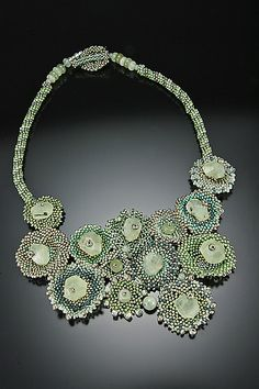 Mint Julep Necklace - Czech glass beads woven in peyote stitch. Glass seed beads, Prehnite nuggets, Jade, Silver.