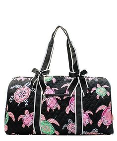Personalized Pink & Mint Turtle Large Quilted Duffel Bag - Black