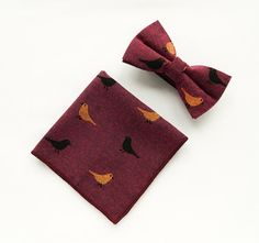 Burgundy bow tie, bird print bow tie pocket square Pre-Tied bow tie gift for men Groomsmen burgundy bow tie wedding bow tie