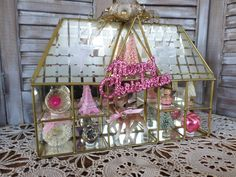 vintage glass, mirror and brass knick--knack shelf, upcycled with vintage pink Christmas goodness