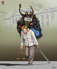 Le illustrazioni satiriche di Gunduz Agayev rivelano il modo in cui i leader mondiali vedono la giustizia