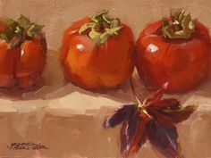 DPW Fine Art Friendly Auctions - Persimmons & Leaf by Karen Werner