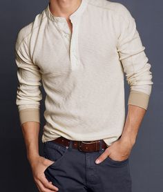 4aaf91b6 Men's Woodside Thermal Henley: Taking its cue from vintage military  styling, this henley uses