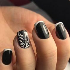 Dark Nails, Gel Nails, Black Manicure, Nail Design Video, Red Design, Monochrom, Blue Glitter, Elegant, Finger
