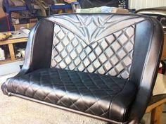 Diamond hot rod pleat bench seat. #hotrod #hotrodbenchseat #diamond #hotrodpleat #lowbackbucketbenchseat #CThotrodshop #upholstery #automotiveupholstery