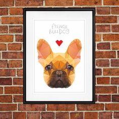 French Bulldog Digital Poster Print, Wall Decor, Geo Cubistic Sponge Cake by PSIAKREW on Etsy