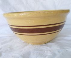Vtg Stoneware Large Antique Mixing Bowl Yellow Ware Pottery Brown Striped