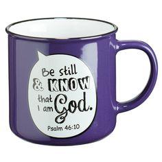 Purple Campfire Style Scripture Bubble Ceramic Mug: Psalm 46:10