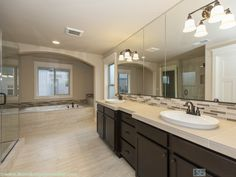 Double oval sinks with frameless glass shower door and garden tub.