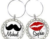Set of 6 - PERSONALIZED WINE CHARMS - Mustache Guys / Lips Girls w/swavorski crystals -Bachelorette Party Favors, Wedding Favors or Parties