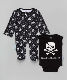 Silly Souls Black & White Good to the Bone Bodysuit & Footie - Infant | zulily