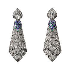 Cartier Étourdissant purple sapphire, emerald and diamond earrings