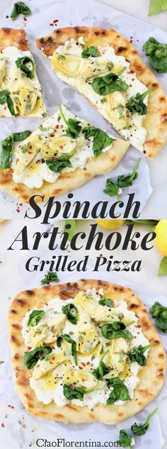 Spinach Artichoke Grilled Pizza Bianca Recipe with Fresh Ricotta Cheese and Lemon Marinated Artichoke Hearts ⭐️⭐️⭐️⭐️⭐️ | CiaoFlorentina.com @CiaoFlorentina