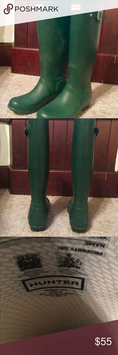 Hunter Rain Boots / Tall - Green - Size 7 Gently used Tall Hunter Rain Boots. These are the Dark Olive color. Worn 5 or 6 times. No real scuffs or damage. A little bit of dust/dirt marks but nothing a wet cloth couldn't fix.  Selling because they are a tad too small. Hunter Shoes Winter & Rain Boots
