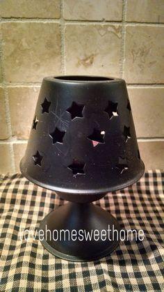 Primitive Black Tea Light Lamp Metal Star Shade  Country Decor #NaivePrimitive