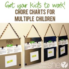 Get your kids to work! Chore Chart for Multiple Children #howdoesshe #organization #funwithkids howdoesshe.com