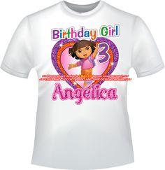YOU PRINT-Dora the Explorer Birthday Girl iron by BLINGITbyGinny