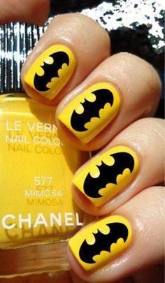Bright Colored Batman Nail Art Design