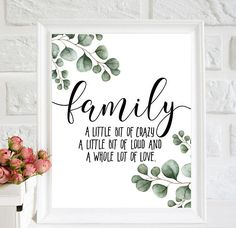 Family sign, Family a little bit of crazy, a little bit of loud, a whole lot of love print, laurel wreath printable, family print home decor, 8x10, 10x8, 16x20 digital print - Instant Download ♥Welcome to VIGcolour shop!♥ ♥Instant download printable artwork. ♥No physical item will be