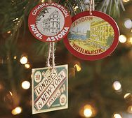 Pottery Barn - Paper Luggage Tag Ornament, set of 3 - 6.50