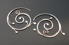 Silver Spirals Earrings, Sterling silver, Rachel Wilder handmade Jewelry by rachelwilder on Etsy
