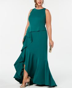 Magnified Adrianna Papell Plus Size Cascading Ruffle Gown image Evening Dresses Plus Size, Plus Size Maxi Dresses, Nice Dresses, Formal Dresses, Halter Dresses, Gowns For Plus Size Women, Plus Size Brides, Casual Plus Size Outfits, Dresses For Apple Shape