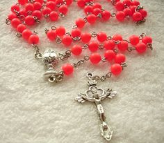 Neon Red Swarovski Pearl First Communion Rosary. Can be personalized with child's name...